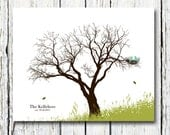 """Personalized Birds Family Tree Gift to Parents 8""""x10"""" Choose your fonts and bird colors"""