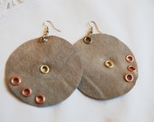 Beige coper gold silver leather earrings hand made