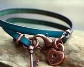 Heart Lock and Key Wrap Leather Bracelet  in Copper by Bandana Girl