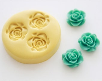Rose Cabochon Silicone Mold 3 Cavity