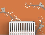 Children's Room Wall Decal Baby Wall Decor Grey Wall Decal - Koala Tree Branches by LittleLion Studio