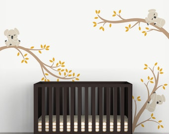 Kids Wall Decals Baby Room Decor Light Brown and Dark Yellow - Koala Tree Branches by LittleLion Studio