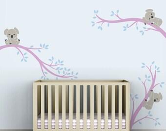 Kids Wall Decal Baby Room Decor Wall Tree Sticker Blue Walls - Koala Tree Branches by LittleLion Studio
