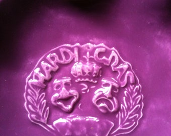 Mardi Gras purple hand and slab built Stoneware Pottery Bowl