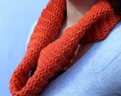Orange Infinity Scarf Crocheted with Built in Twist in Orange / Pumpkin Spice Latte
