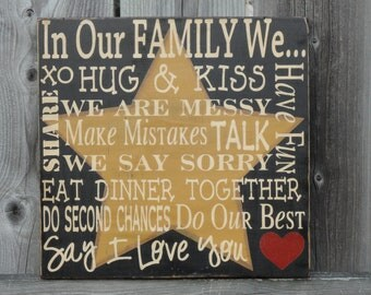 Primitive Family Rules Sign, In Our Family We Do Second Chances, Primitive Decor, Primitives
