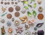 Vintage Scrap and bits-n-pieces of Jewelry and charms 4yor Assemblage Art - lot-2