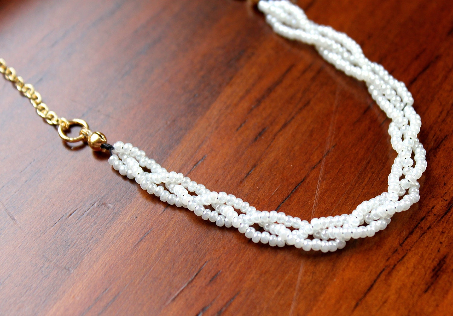 items similar to braided white seed bead necklace with
