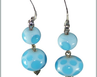 Blue Bubbles and Dots Earrings