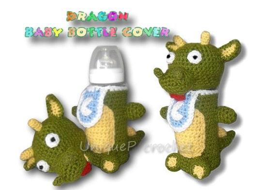 Items similar to Amigurumi Dragon Baby Bottle Cover-PDF ...