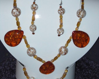 Unique, Handmade AMBER  RESIN Jewelry Set Made with MOSIAC Glass Beads