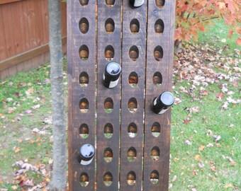 Dark Walnut Wine Rack, French Riddling Rack, Wall Mounted Wine Rack, Riddling Rack, 40 Bottle Riddling Rack