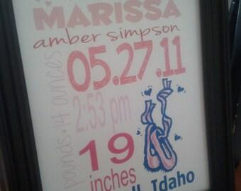 Baby Girl Ballerina Wall Decor/Birth Announcment