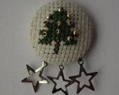 Handmade Cross Stitch Christmas Tree Brooch