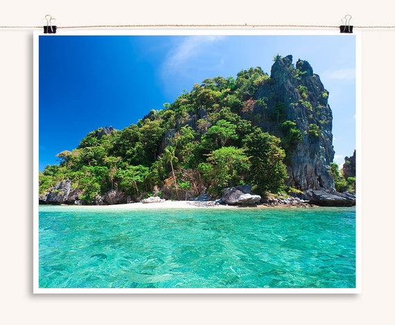 Deserted Tropical Island: Desert Island With Turquoise Seas Tropical By IslandPrintShop