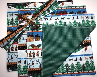 """SALE!  Set of Four Hand Sewn 12"""" Christmas/Holiday Reversible Fabric Napkins - Our Town Pattern"""