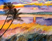 Sunset beach painting..