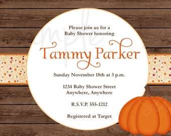 Rustic Pumpkin Baby Shower Invitation