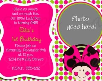 Sweet Lady Bug Birthday Invitation