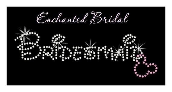 Disney Inspired Bridesmaid With Dangling Mickey Rhinestone Transfer DIY Wedding Bling