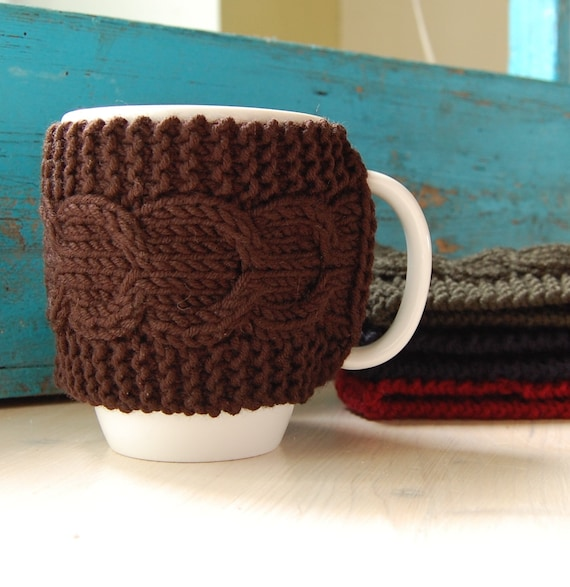 Items similar to Knit coffee mug cozy with cable pattern ...