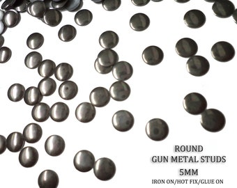 DIY Studs - 250 Gun Metal 5 mm Round Studs - Iron On, Hot Fix, or Glue On -