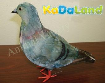 Gray Pigeon Standing Realistic  Feather Bird Figurine Furry Animal Unique