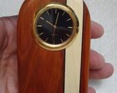 Small Quartz Desk Clock  - Handcrafted Natural Hardwoods (Bloodwood, Holly)