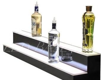 "24"" Bottle Shelf for Liquor at Home or bar display 2 step"