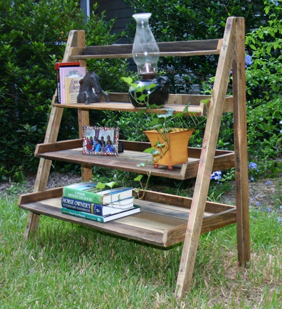 Items similar to reclaimed wood ladder shelf book shelf - Reclaimed wood ladder shelf ...