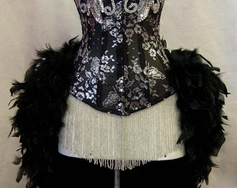 Size L-Silver & Black Lace Showgirl Saloon Girl Moulin Burlesque Costume w/Feather Train