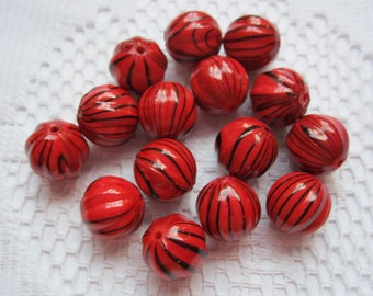 14 Red & Black Striped Round Acrylic Beads  12mm