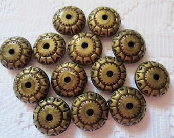 13  Antique Bronze Etched Wheel Acrylic Beads  18mm