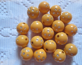 13  Light Pumpkin Orange & Silver Star Etched Round Acrylic Beads  12mm
