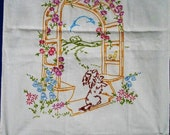 Uncommon Vintage Runner Antique Linens Charming Scene Hand Embroidery Vintage Linens