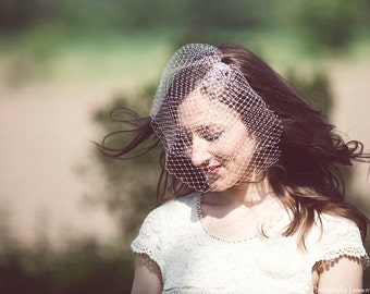 Light Pink Blusher Veil, Birdcage Veil, Asymmetrical Veil, Double Layer Veil, Wedding Veil