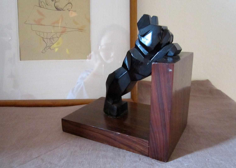 ANTIQUE Book Stopper Art D Co Dog Shape Black Rosewood Geometric Tamara
