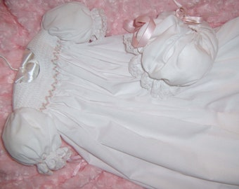 Hand made Christening Gown, Slip & Bonnet