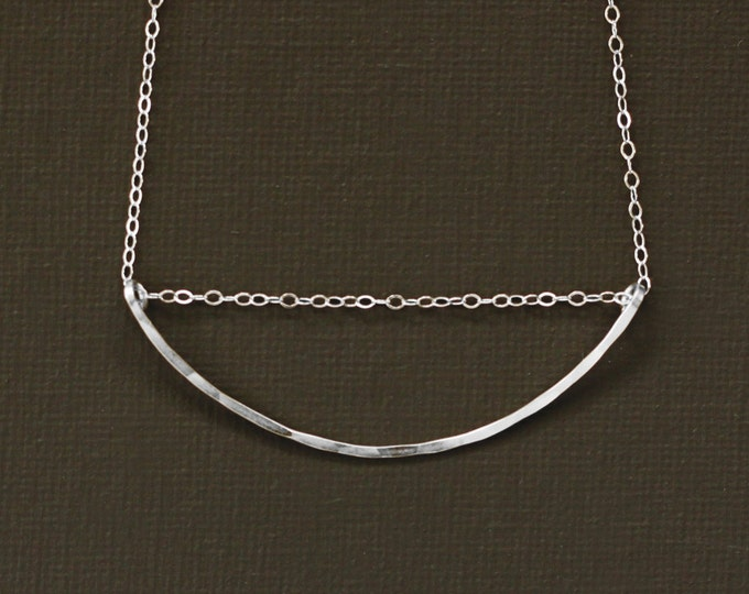 Curved Bar Necklace - Hand Hammered Sterling Silver Bar