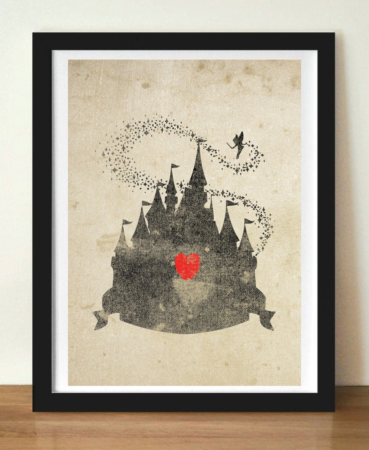 Disney Castle Inspired Silhouette 5x7 Art Print With Heart