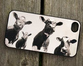 iphone 4, 5 or 6 case - Four cows - smartphone -  Samsung Galaxy and Galaxy mini - Mobile - Animal - Farm - Moo - Photo