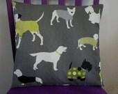 Handmade cushion cover made with Prestigious Mans Best Friend Dog fabric, christmas