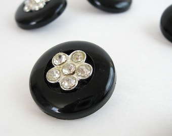 Large Rhinestone Buttons - 2 or More Vintage Black Plastic Shank Buttons - Rhinestone Flowers - Holiday Couture Fashion Trim Sewing Notions
