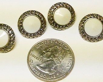 LOT of 4 Buttons - White & Silver -Plastic  Buttons