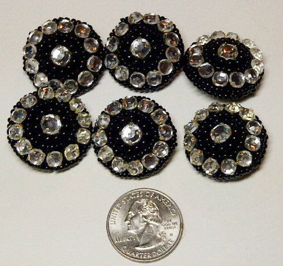 LOT of 6 Buttons- Fancy Decorative Rhinestone Buttons - Clear & Black  - Beaded Buttons