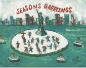 BOXED HOLIDAY CARDS of Statue of Liberty New York,  whimsical, colorful reproductions of original artwork by Michelle Winters