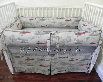 Custom Crib Bedding Set Logan -Vintage Airplanes with Gray