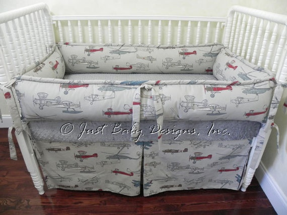 Custom crib bedding set logan vintage by babybeddingbyjbd on etsy - Airplane baby bedding sets ...