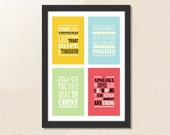 ANY 4 POSTCARDS - inspirational quotes postcards / greetings / art / collectable