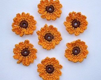 7 Small crochet cotton flowers applique-Yellow and Brown